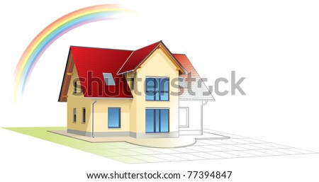 House from sketch to colorful reality, rainbow. Building, construction, painting. Vector illustration - stock vector