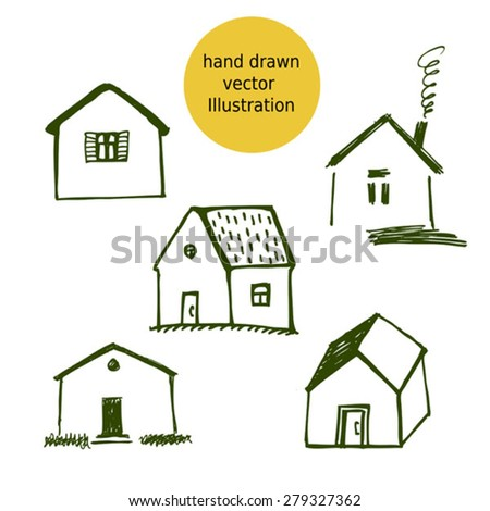 house hand drawn vector sketches  - stock vector