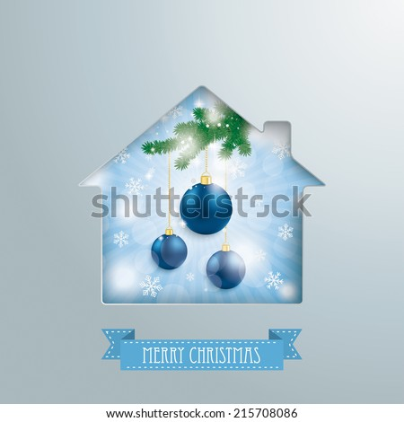 House hole with blue sky, christmas baubles and banner. Eps 10 vector file. - stock vector