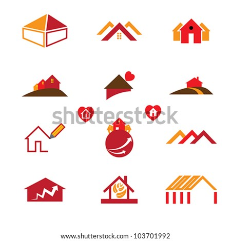 House, home and office logo template icons for real estate business requirements like business cards, brochures, websites, etc. - stock vector