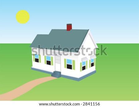 house, home, grass - stock vector