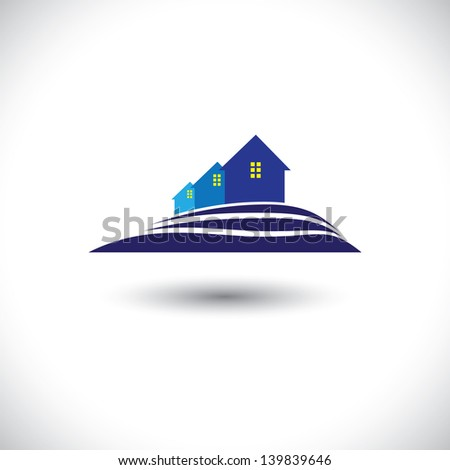 House ( home ) & residence icon for real-estate- vector graphic. The illustration is also a icon for buying & selling property, residential accommodations, offices, etc - stock vector