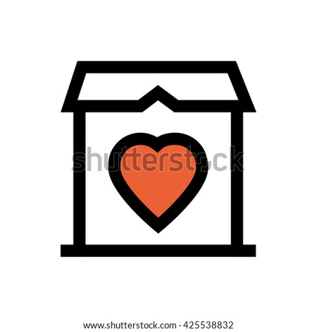 House, home, valentine's day, love line icon. Pixel perfect fully editable vector icon suitable for websites, info graphics and print media. - stock vector