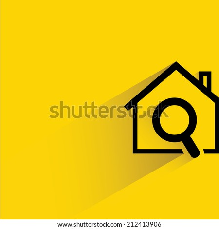 house hunting, house and magnifier glass on yellow background, flat and shadow theme design - stock vector