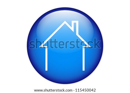 House icon isolated on a blue circle - stock vector