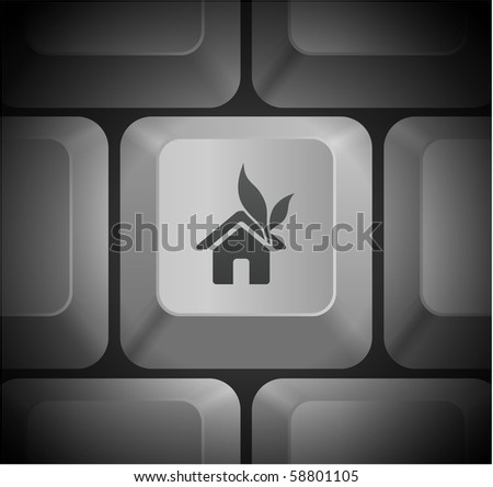 House Icon on Computer Keyboard Original Illustration - stock vector