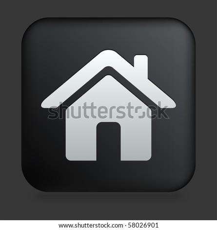 House Icon on Square Black Internet Button Original Illustration - stock vector