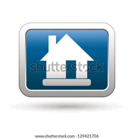 House icon on the blue with silver rectangular button. Vector illustration - stock vector