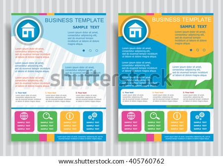 Superior House Icon On Vector Brochure Flyer Design Layout Template, Size A4. Easy  To Use Photo