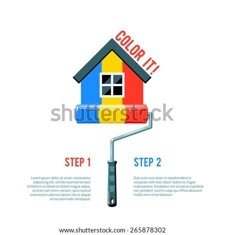 House icon painted in three colors with paint roller house improvement logo vector illustration - stock vector