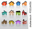 house icon set - stock vector