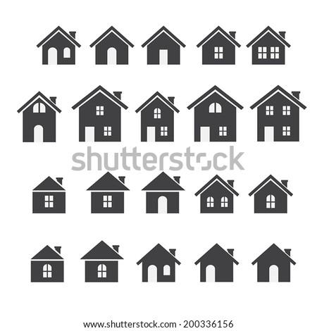 house icon set - stock vector