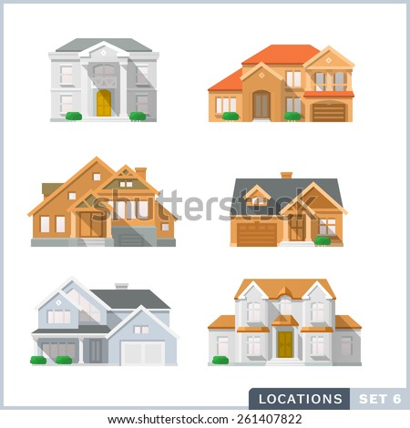 House icon set 2. Colourful flat illustrations. - stock vector