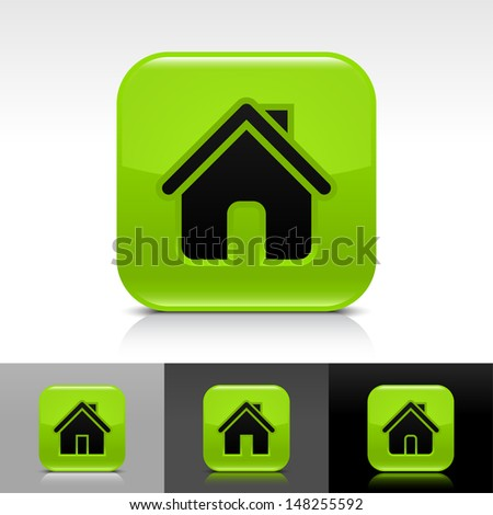 House icon set. Green glossy web button with black sign. Rounded square shape with shadow, reflection on white, gray, black background. Vector illustration design element save in 8 eps  - stock vector