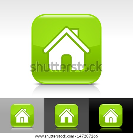 House icon set. Green glossy web button with white sign. Rounded square shape with shadow, reflection on white, gray, black background. Vector illustration design element save in 8 eps  - stock vector