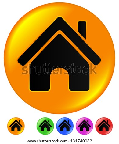 House Icon - Very Glossy, In Various Colors - stock vector