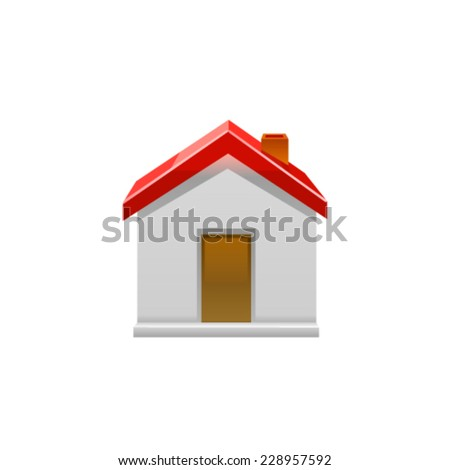 House icon with green arrow. Vector
