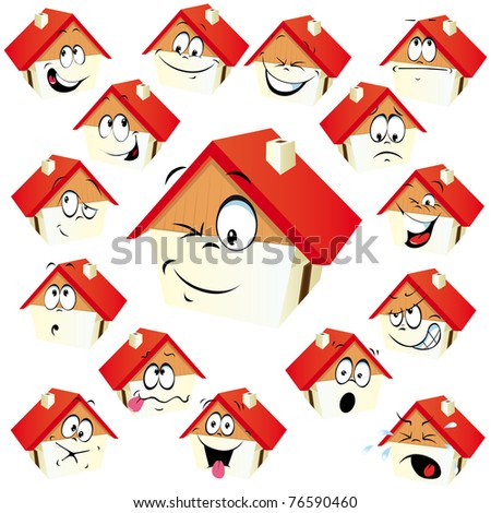 house icon with many expressions - stock vector