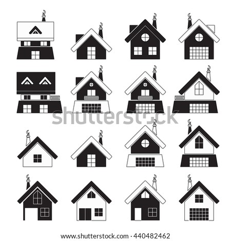 house icons set black and white for web or printing or home design