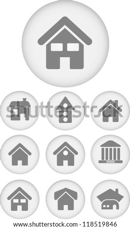 house icons set, vector - stock vector