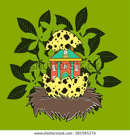 House in a bird's nest - stock vector
