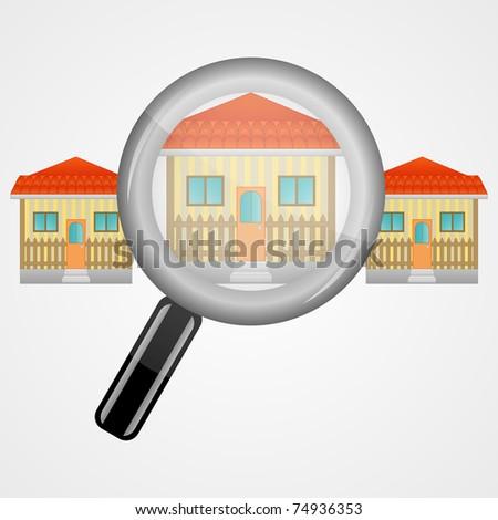 House in a row through magnifier glass - stock vector