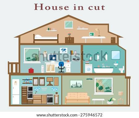 House in cut. Detailed flat style interior. Set of rooms with furniture - stock vector