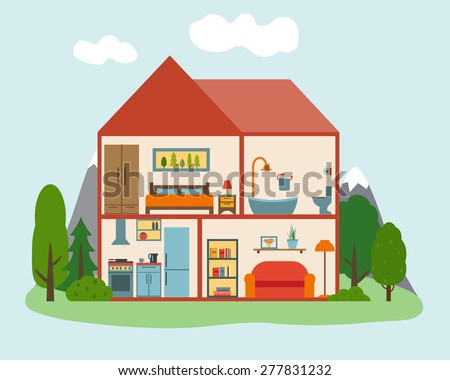 House in cut in forest with trees. Detailed modern house interior. Rooms with furniture.  Flat style vector illustration. - stock vector