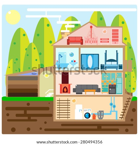 House in cut. Modern house interior. Rooms with furniture. Flat vector illustration.