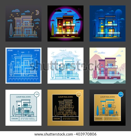 House in different styles. Vector.