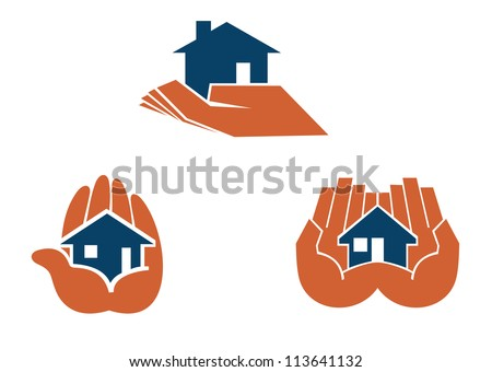 House in hands symbols and pictograms for real estate business design, such a logo template. Jpeg version also available in gallery - stock vector