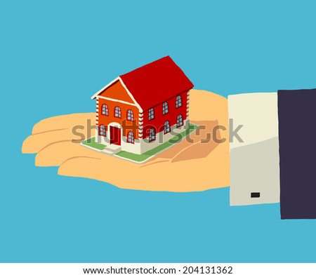 House in human hand. Vector illustration about realty, insurance, home, investment. - stock vector