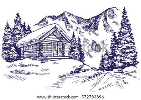 House Mountain Landscape Hand Drawn Vector Stock Vector
