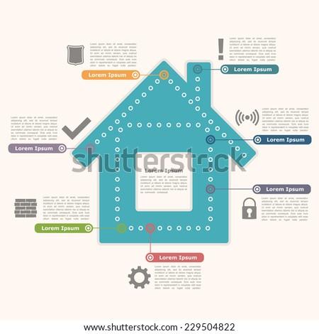 House infographics design template, vector eps10 illustration - stock vector