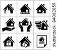 House insurance icons Set. All white areas are cut away from icons and black areas merged. - stock vector