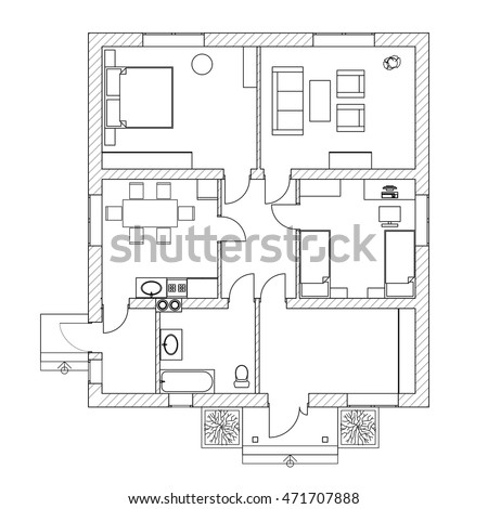 House Interior Black White Floor Plan Stock Vector