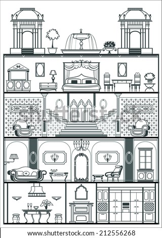 House Interior In Baroque Style Silhouette Vector Illustration
