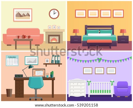 House Interior Living Room Bedroom Office Place Baby Nursery Flat Vector Design