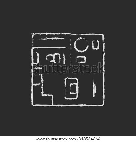 House interior with furniture hand drawn in chalk on a blackboard vector white icon isolated on a black background.