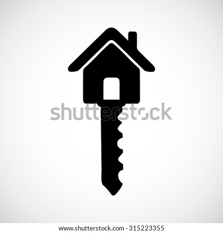 black house key. House Key Black Icon For Web Real Estate Template. Vector Illustrations EPS 10 On An I