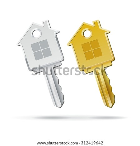 House key isolated on white background vector illustration - stock vector