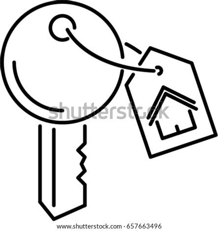 house key outline. house key outline icon o