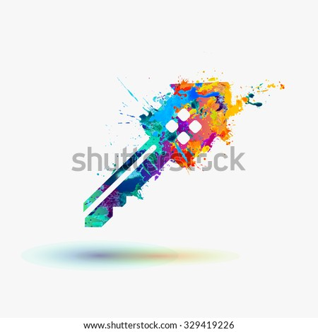 house key rainbow splash icon - stock vector