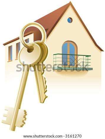 House keys, real estate, home. Vector illustration - stock vector