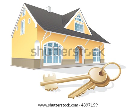 House keys, real estate, realty, security. Vector illustration - stock vector