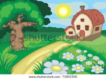 house landscape - stock vector