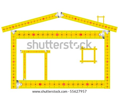 house made of measuring tape against white background, abstract vector art illustration - stock vector