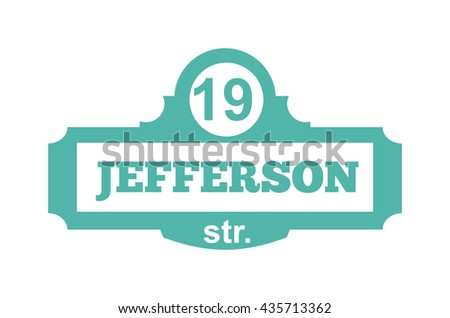 House number main street and vector street sign frame, house number plate design. Street sign wall frame and postel one urban house number. Street sign numeral architecture address symbol. - stock vector