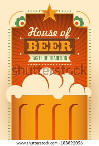 House of beer poster. Vector illustration. - stock vector