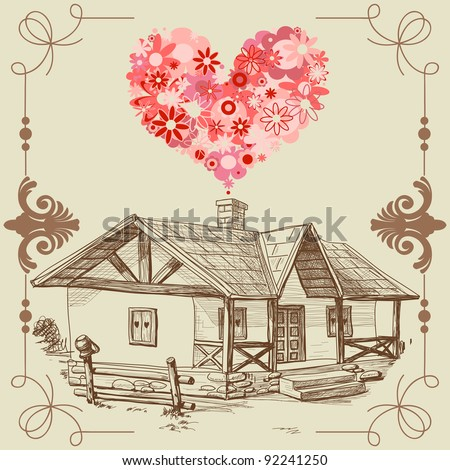 House of love happy family concept vector illustration - stock vector